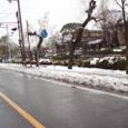 1月22日 大雪が解ける前の西条高校の前道路
